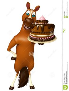 6c5b59bbf155a Cute Horse Cartoon Character With Cake Stock Illustration - Illustration of  farm
