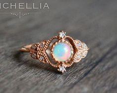 14K/18K Victorian Opal Ring Vintage Inspired by MichelliaDesigns