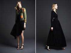 Preen Pre-Fall 2014  Justin Thornton and Thea Bregazzi's pre-fall collection for Preen, with dark navies, cobalt blues, blacks, and pops of orange in the form of asian-inspired floral prints and trim details