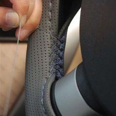 Copertura del Volante Dell'automobile DIY Faux Cuoio Cucito A Mano con Aghi e Filo