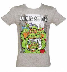 Men's Grey Marl Teenage Mutant Ninja Turtles #Selfie T-Shirt xoxo #TMNT