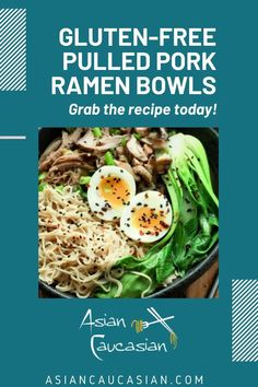 I created these flavorful Gluten-Free Pulled Pork Ramen Bowls using gluten-free ramen noodles. This tasty dish features leftover pulled pork for protein, woody shiitake mushrooms, and vibrant baby bok choy. It's hearty, healthy, and super fast! #easydinnerrecipe #easyramenrecipe #glutenfreedinnerrecipe