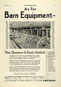 1931 Ad Louden Machinery Barn Farm Livestock Cattle Agriculture Equipment Iowa - Original Print Ad $27.95
