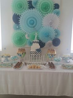First Communion dessert table for boys Boys First Communion, First Communion Favors, Boy Baptism, Baby Christening, Dragon Baby Shower, Backyard Party Decorations, Honeycomb Decorations, Baptisms, Backdrops For Parties