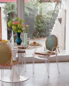Acrylic Chairs With Cushions Best Barber 508 Ghost Images Furniture Dining And Knoll Saarinen Table