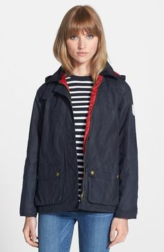 Barbour 'Shore' Hooded Waxed Cotton Marine Jacket