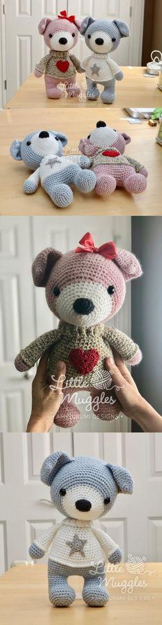 Lila And Finn The Dogs Amigurumi Pattern Crochet Teddy, Diy Crochet, Crochet Dolls, Crochet Baby, Crochet Toys Patterns, Amigurumi Patterns, Crochet Designs, Knitting Projects, Crochet Projects