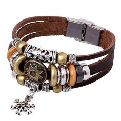 Korea Style Snowflake Leather Bracelet