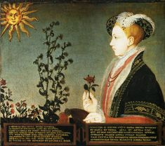 Edward VI. by William Scrots-EXCERPT:  'We see in the painting both a red and white rose which symbolised the Houses of Lancaster and York respectively, the two great English dynasties, which were united by Edward's grandfather, Henry VII.   The Latin inscription below the portrait speaks of Phoebus, the sun, and Clytia, the sunflower, both of whom feature in Ovid's Metamorphoses.' This is my personal favorite of the depictions of Edward.