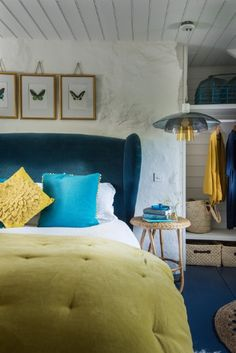 Double bedroom with gorgeous king-size bed and velvet headboard