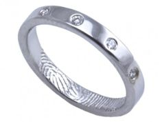 Sterling silver Engagement/Wedding Ring - by Brent & Jess Custom Handmade Fingerprint Wedding Rings and Jewelry