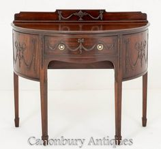 Mahogany Adams Sideboard Demi Lune Buffet Server Walnut Sideboard, Antique Sideboard, Sideboard Cabinet, Adams Furniture, Antique Furniture, Mantle Mirror, Adam Style, Buffet Server, Marble Top