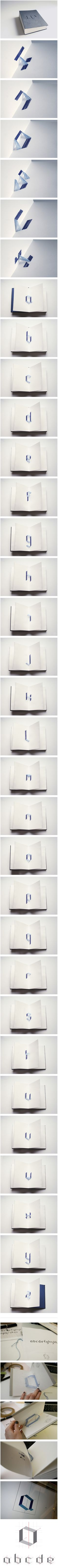 Really cool alphabet book. Thread sewn through pages to make the letters 3D