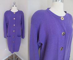 80s Purple Long Sleeve Cardigan / Sweater Dress by GeekGirlRetro