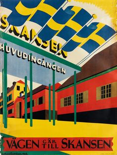 GOTTHARD (GOTTE) GUSTAFSSON (1902-1950) VÄGEN GAR TILL SKANSEN. 1932.  36x27 1/4 inches, 91 1/2x69 1/4 cm. J. Olséns, Stockholm.