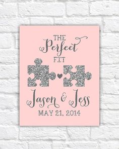 Jigsaw Wedding, The Perfect Fit, Puzzle Piece Art, Blush, Glitter, Silver, Elegant, Wedding Gift, Princess Wedding, Best Friends Wedding