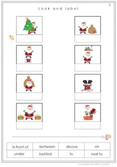 Christmas Prepositions Worksheets by Miss Jelena's Classroom Prepositions Worksheets, Adjective Worksheet, Kindergarten Worksheets, Christmas Worksheets, Primary Classroom, Activity Sheets, Cut And Paste, Creative Teaching, Christmas Holidays