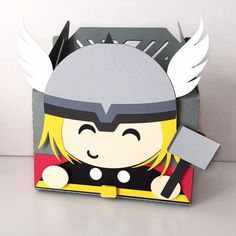 Adorable Avengers themed party favor boxes. Thor.