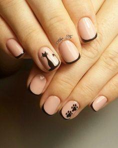French coat for short nails and a pattern of cats Cat Nail Art, Cat Nails, Trendy Nail Art, Stylish Nails, Nail Art Design Gallery, Nail Art Designs, Nail Manicure, Nail Polish, Pedicure