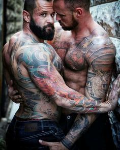 Beefy Guys In Tats Enjoy Each Other