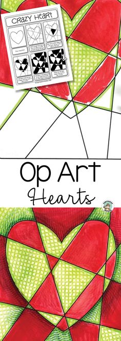 Create a show-stopping Valentine's Day art display with this Op Art Hearts art lesson! #valentinesdayartforkids #ArtProjectsForKids