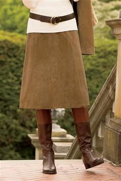 Suede-A-line-Skirt w/ boots and Shirt :)