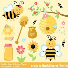 80% OFF SALE Bumble Bee Clipart, Bee Clipart, Bumble Bees, Honey Clipart, Printable, Commercial Use