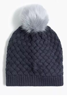59dbfdbe964f4 NWT J.Crew Ribbed Beanie With Faux-Fur Pom-Pom Dark Gravel  fashion   clothing  shoes  accessories  womensaccessories  hats (ebay link)