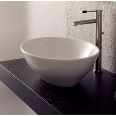 Scarabeo by Nameeks 8011 Ovo Ceramic Vessel Bathroom Sink White / No Hole Fixture Lavatory Sink Ceramic Above Counter Bathroom Sink, Small Bathroom Sinks, Wall Mounted Bathroom Sinks, Bathroom Ideas, Bath Ideas, Loft Bathroom, Bathroom Stuff, Bathroom Trends, Washroom