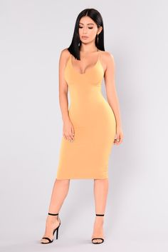 """Available In Mustard and Rust Basic 34"""" Dress Venezia Fabric Double Layer 94% Polyester 6% Spandex"""