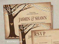 Custom listing 20 Rustic Wedding Invitation Laser Cut Tree