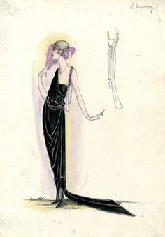 """Evening Dress, Callot Soeurs, Spring 1919.  Black ankle length dress with train; draped straight skirt; sleeveless bodice with asymmetrical side drape on one shoulder, narrow black strap on the other shoulder wrapped with pink beads; pink beads also at waist; fan with pink feathers. (Bendel Collection, HB 032-17)"", 1919. Fashion sketch. Brooklyn Museum, Fashion sketches. (Photo: Brooklyn Museum, SC01.1_Bendel_Collection_HB_032-017_1919_Callot_SL5.jpg)"