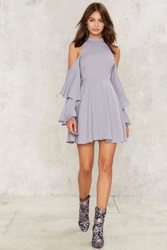 Following the River Cold Shoulder Dress - Clothes | Cocktail Dresses | Fit and Flare Dresses