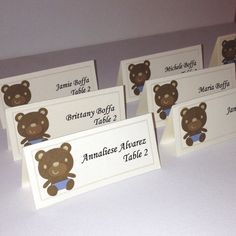 Teddy bear placecards baby shower placecards by FromAtoZbyTami