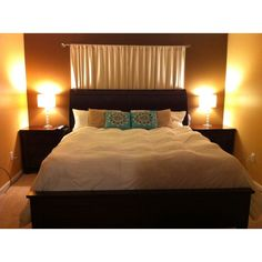 Curtain behind bed. But i would go all the way up to the ceiling Bedroom Styles, Bedroom Ideas, Curtains Behind Bed, Black Bedroom Furniture, Decor Ideas, Diy Ideas, Decorating Ideas, Bedroom Windows, Other Rooms