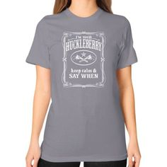 I'm Your Huckleberry (vintage distressed look) Unisex T-Shirt (on woman)