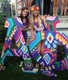 Psychedelic or Vera inspired letters? Alpha Phi Sorority, Be Alpha, Sorority Sugar, Kappa Kappa Gamma, Sister Pics, Sister Pictures, Tri Delta, Oh My Love, Wooden Letters