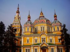 Zenkov Cathedral, Almaty, Kazakhstan  1907, constructed entirely of wood and WITHOUT any nails.  Survived the 1911 earthquake.