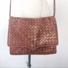 Bottega Veneta woven Leather boho cross body Made in Italy. Good condition. Can be used as a clutch. Strap can be removed. Magnetic front closure. Caramel brown color Bottega Veneta Bags Crossbody Bags