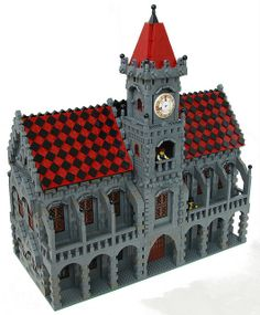 #LEGO Town Hall. Wonderful details including the minifig in the clock tower.