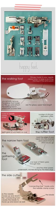 Finding Your Feet: sewing machine feet and their uses http://www.raechelmyers.com/2012/04/sewing-101-happy-feet/: