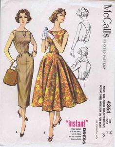 1950s Full or Slim Skirt Dress McCalls 4364 Vintage Sewing Pattern Size 14 Bust 34