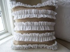 Ruffled Burlap Pillow Cover by HomeSpunStyle on Etsy, $29.00