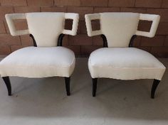 incredable pair of vintage grosfeld house slipper chairs in amazing cond...chairs are aprox. 32\