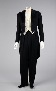Tuxedo (a, b) House of Lanvin (French, founded 1889) Designer: (a, b) Jeanne Lanvin (French, 1867–1946) Manufacturer: (d) Cluett, Peabody & Company, Inc. (American, founded 1898) Designer: (f) E. Larue (French) Date: 1927 Culture: French Medium: wool, cotton, silk (86.4 cm) Credit Line: Brooklyn Museum Costume Collection at The Metropolitan Museum of Art, Gift of the Brooklyn Museum, 2009; Gift of Albert Moss, 1967 Accession Number: 2009.300.906a–f