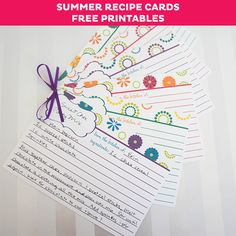 FREE Summer Recipe Card Printables - cute recipe cards for your favorite summer recipes. Send out cards with wedding invites have guests bring us their favorite recipes Printable Recipe Cards, Recipe Binders, Card Book, Recipe Organization, Free Summer, Wrap Recipes, Little Gifts, Summer Recipes, Craft Projects