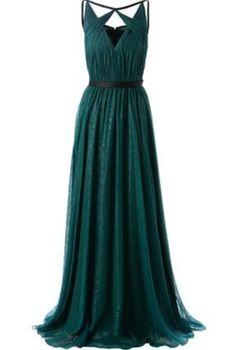 long chiffon prom dress,dark green prom dress,evening dress