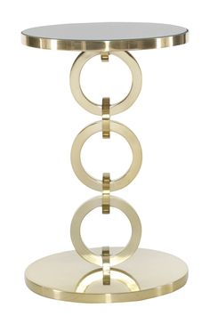 356-123 Jet Set Round Chairside Table | Bernhardt Dia 16 H 24.5 Mirror Top Brass Plated Finish $845 #1Foot #2Foot