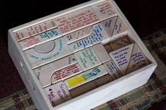 """First birthday wooden blocks guest""""book""""."""