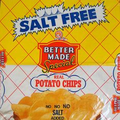 Vintage Bag of Salt Free Potato Chips #bettermade85years
